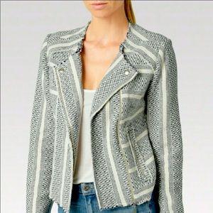 Paige Shayla Blue Jacquard Cropped Moto Jacket
